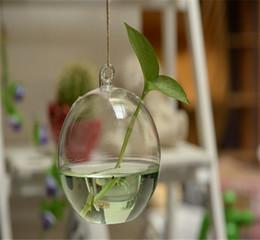 Wholesale Display Glass Bottle - lower Implement Suspension Type Transparent Glass Vase Creative Pastoral Hydroponic Plant Infusion Bag Or Bottle Terrarium Wedding Decor