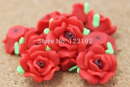 Wholesale Rose Shaped Craft Beads - Free Shipping 30pcs Red Polymer Fimo Rose Shape beads Clay Spacer Beads 15mm For Jewelry Making Craft DIY
