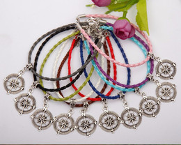 Wholesale Crystal Compass - Hot 50pcs Kabbalah Mariner's Compass Charms Pendants Mixed Color Braided Rope Bracelets Fashion Jewelry DIY For Women&Men F751