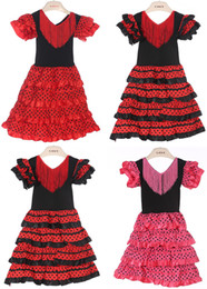 Meninas do bebê Vestir Material de Poliéster Bebê Menina flamenco Vestidos de Três Cores e Alta Qualidade Espanhol dança flamenca vestido PT004 de