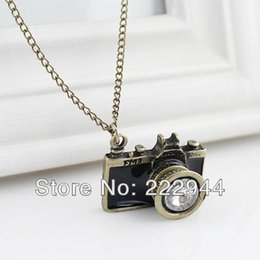 Wholesale Vintage Camera Jewelry - Vintage Jewelry Camera Necklaces Pendants Hot Sale Enamel Black Blue Color Lovely Blue Black Fashion Necklace