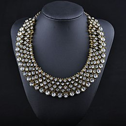 Wholesale Silver Bib Jewelry - Luxury Crystal Bib Statement Necklace Collar Necklaces Rhinestone Chunky Chain Brand Chokers Jewelry NXL114