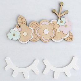 Wholesale Ornament Hooks - Wholesale- Small eyelash wooden sticker for kids room wall decorate room ECO hanger hook decorative wooden ornaments kids present