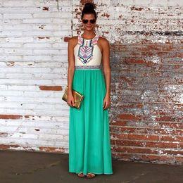 Wholesale Chiffon Vestidos Festa - New 2016 women party casual chiffon printed summer dress vestidos femininos fiesta vestido de festa maxi sleeveless beach dresses