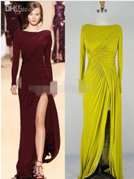Wholesale Sexy Long Jersey Dresses - Elie Saab New Sexy Long Sleeves Burgundy Jersey Ruffles Split Floor Length Evening Dresses arabic dresses charms bridesmaid dresses