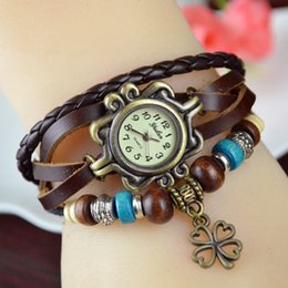 Wholesale Digital Watches For Sale - Korean Hot Sale Ladies Wrist Watch Fashion Retro Table Clover Winding Watch 10 color Wholesale Jewelry for Students