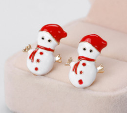 Wholesale Red Hat Charms - D.Run Earrings Of Snowman With Red Hat Red Scarf Red Button Golden Arm And White Body Fashion Accessories