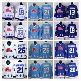Wholesale Peter Forsberg - Quebec Nordiques Throwback Hockey Jerseys 13 Mats Sundin 19 Joe Sakic 21 Peter Forsberg 26 Peter Stastny Retro Jersey Blue Wite