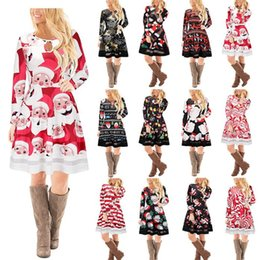 Pannello esterno di disegno dei fiori online-15 design Natale maniche lunghe donna ragazze abito cervo Snowman fiore stampato gonna elegante per abiti da festa KKA3560