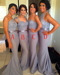 Wholesale Hot Selling Mermaid One Shoulder - Hot New 2015 Silver Chiffon Beaded Lace Sheath Cheap Bridesmaid Dresses Long With Sash Best Selling Mermaid Bridesmaid Gowns Maid of Honor
