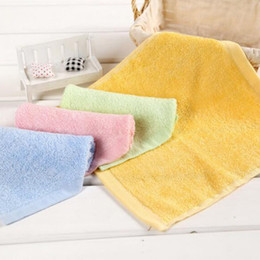 Wholesale Towel Wipe - Soft Bamboo Towels Organic Baby Flannel Face Hand Embroidered Towel Washcloth Wipes 25x25cm Green Pink Blue Yellow
