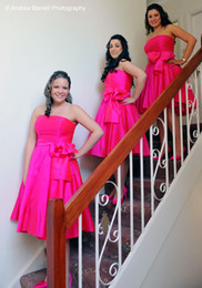 Wholesale New Clothes For Cheap - New Fuchsia Short Bridesmaid Dresses A Line Simple Bow Sashes Strapless Prom Gowns 2016 Cheap Lady Formal Clothing Party Dress For Wedding