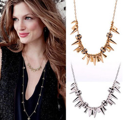 Wholesale Pave Link Chain Wholesale - Renegade Cluster Necklace Alloy Arrowhead Choker Necklace Rhinestone Pave Ball Charms for Lady Gold or Silver Plated Free Shipping