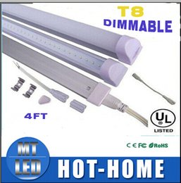 Wholesale Dimmable Led T8 - 2017 new Integrated 1.2m 4ft 22W Led dimmable T8 Tube Lights SMD2835 2400lm Frosted Transparent Cover 85-265V fluorescent lighting