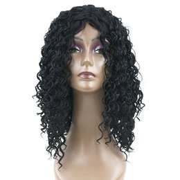 Wholesale Hairpieces For Black Women - hanzi_beauty Medium Deep Wave Hairstyle Synthetic Hair Black to Brown Wigs Party Hair Cosplay Wig for Black Women Hairpiece