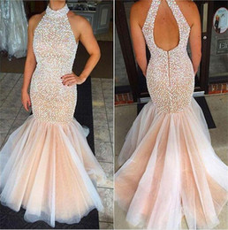 mermaid feather pageant gown Coupons - Luxury Champagne High Neck Pageant Dresses Beading Pearls Sexy Mermaid Prom Dresses Hollow ANd Zipper Back Vestidos Formal Evening Gowns