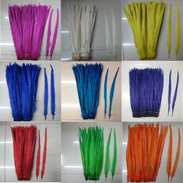Перья красного фазана онлайн-Оптовая продажа-Бесплатная доставка 50 шт. / Цвет 20-22 дюймов (50-55 см) Ringneck фазан хвост перья белый, желтый, красный, зеленый, фуксия, фиолетовый, королевский синий,