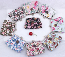 Wholesale Vintage Flower Wallet - Hot sale Vintage flower coin purse canvas key holder wallet hasp small gifts bag clutch handbag