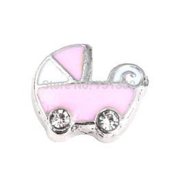 Wholesale Selling Strollers Wholesale - 2016 Hot Selling Floating Locket Charms Pink Baby Stroller Charms Pendant for DIY Glass Lockets FC-083