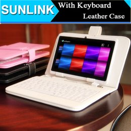 Wholesale Port Leather - Universal Tablet PC Cover Micro  USB Port Keyboard Case for 7 8 9 9.7 10 10.1 Inch Tablet Q88 Samsung Tab with Stand Holder PU Leather Cases