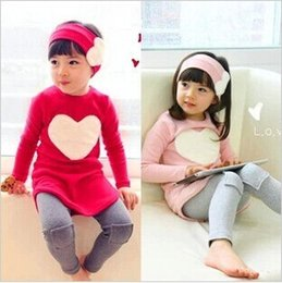 Wholesale Korean Leggings Wholesale - 3pcs set!Autumn Children Clothes Set Girl Clothing Korean Love Long Sleeve TShirt+leggings +Pants+ Headband 3pcs sets