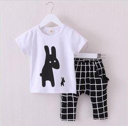 Wholesale Clothes Coats For Rabbits - 2016 New Summer Boys Clothes Rabbit Children Clothes for Boys Toddler Baby Boys Clothing Set Short Sleeve T Shirts+ Plaid Pant hight quality