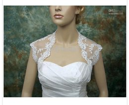 Wholesale Wedding Dress Bolero Sheer Lace - Bridal Jacket with Cap Sleeves Sheer Bridal Jackets with Lace Appliques Cover Back White Ivory Wraps Bridal Bolero for Wedding Dresses
