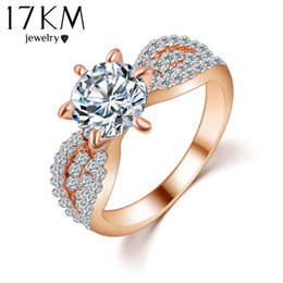 Wholesale Cubic Stone Jewellery - 17KM Romantic Wedding Crystal Rings Rose Gold Color Big Cubic Zircon Womens Fashion Jewellery Ring Full Size Anillos