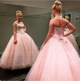 corsé princesa rosa Rebajas 2016 Pink Cheap Beaded Crystals Quinceanera Dresses Sweet 15 16 Formal Princess Lentejuelas con cuentas Sweetheart Birthday Corset Back Prom Vestidos