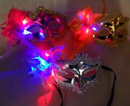 Wholesale Venice Mask Flowers - LED Venice Shiny Masks Flashing Princess Mask Dance Mask Side Plating Mask Pointed Flower Luminous Masks Masquerade Masks Italy New Style