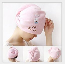 Wholesale Dandys Hats Caps - Useful Dry Hair Hat Microfiber Hair Turban Quickly Dry Hair Hat Wrapped Towel Bathing Cap 56*20.5cm,dandys