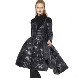 Wholesale France Down Jackets - New 2017 France Luxury Women Dovetail Down Coat Female Winter Skirt Hem Long Down Jacket 90% White Duck Down Parkas Outerwear
