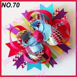 Wholesale Funky Red - free shipping 30pcs fashion chevron hair bows girl funky hair bows popular hair accessories baby hair clips