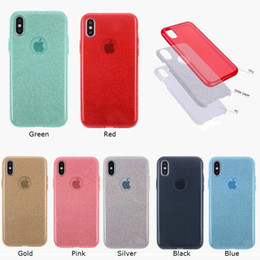 Wholesale Iphone 5s Back Light - For Iphone X 8 Plus Luxury TPU 3 in 1 Bling Glitter Hybrid Phone Case Back Cover For Iphone 8 7 6s plus 5S Samsung S8 Plus S8 S7 S6 Note 8