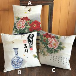 Wholesale Blue White Porcelain Pillow - Chinoiserie blue and white porcelain Chinese style peony printed pillow Home Sofa linen cotton velvet cushion cover case 45*45 cm #63