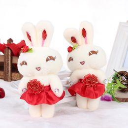 Wholesale Girl Sweet Teddy Bear - Plush pendant doll 12cm sweet dress rabbit girl cute cartoon decoration gift stuffed toy wedding bouquets 12pcs oso de peluche