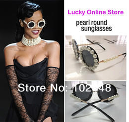Wholesale Sunglasses Pearls - Latest Designer Overstate Big Pearl round Sunglasses Handmade Brand Design glasses for Women Ladies + pu box+clean cloth