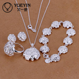 Wholesale Romantic Collection - Wholesale-S296 2016 Highest quality 925 sterling silver engagement flower jewelry collection of romantic jewelry sets