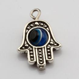 10pcs Hamsa Hand EVIL EYE Kabbalah Luck Charms Pendant Fit Bracelet 33x13mm