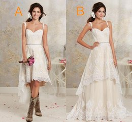 Wholesale Crystal Spaghetti Beads - Two Styles Lace Country Wedding Dresses High Low Short Bridal Dresses And Floor length Multi Layers Garden Bohemian Wedding Gowns