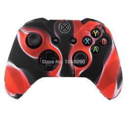 Xbox un controlador cubre online-Funda de goma negra roja del gel de silicona Camo del silicón de la caja para el caso del silicón del regulador de XBOX ONE de Microsoft, envío libre