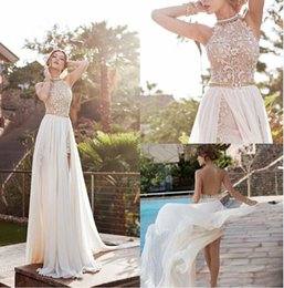 Wholesale Tiered Beaded Wedding Dress - 2015 new Lace Chiffon evening Dresses Halter Beaded Crystals Short Side Slit Backless prom Gowns Summer Beach Wedding Dresses BO5557