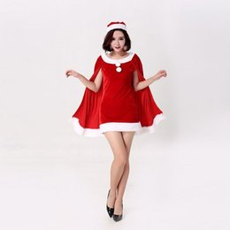 Wholesale Sexy Girl Santa - Santa Claus Women Xmas Dress Set With Cloak Sexy Christmas Party Dancing Costoume Clothes Red Green Black Fashion Dresses For Girls Ladies
