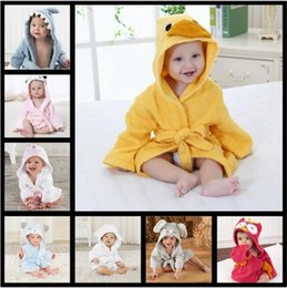 Wholesale Toddler Animal Robe - 20 Styles 65cm Cute Newborn Baby Hooded Pajamas Animal Bathrobe Cartoon Baby Towel Kids Bath Robe Infant Toddler Bath Towels CCA8073 50pcs