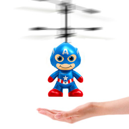 Wholesale Indoor Remote Helicopters - RC Toy Flying remote control Spaceman Helicopter induction aircraft toy helicopter drone indoor children gift Toys 50PCS