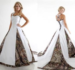 Wholesale Top Selling White Caps - 2016 Top Sell New Camo Wedding Dresses A Line Off Shoulder Appliqued Ruffles Lace-up Back Floor Length Bridal Gowns BA1737