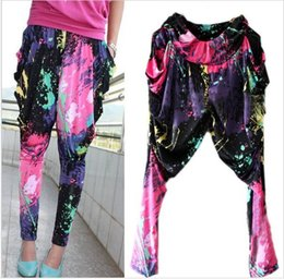 Wholesale Neon Elastic - New Fashion Brand Jazz harem women hip hop pants dance doodle spring and summer loose neon patchwork candy colors sweatpants FREE SHIPPING