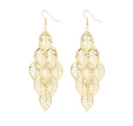 Wholesale Vintage Metal Christmas Tree - Vintage Metal Leaf Earrings For Women Jewelry Plating Tree Leaf Earring Charm Dangle Earrring Fashion Jewelry Christmas Gift D389L
