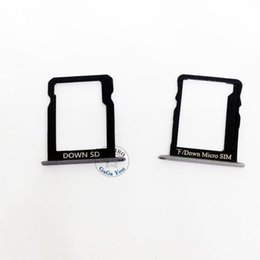 Huawei fente pour carte sim en Ligne-Vente en gros-2 PCS pour Huawei Ascend Mate 7 Support de carte SIM Slot Holder + Micro SD Mémoire Nano Carte Titulaire Noir