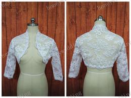 Wholesale Bride White Long Sleeve Shawl - High Neck Lace Bolero Jacket Illusion Half Long Sleeve Wedding Jackets Bridal Shrug Bride Wraps Wedding Dress Accessories Shawl